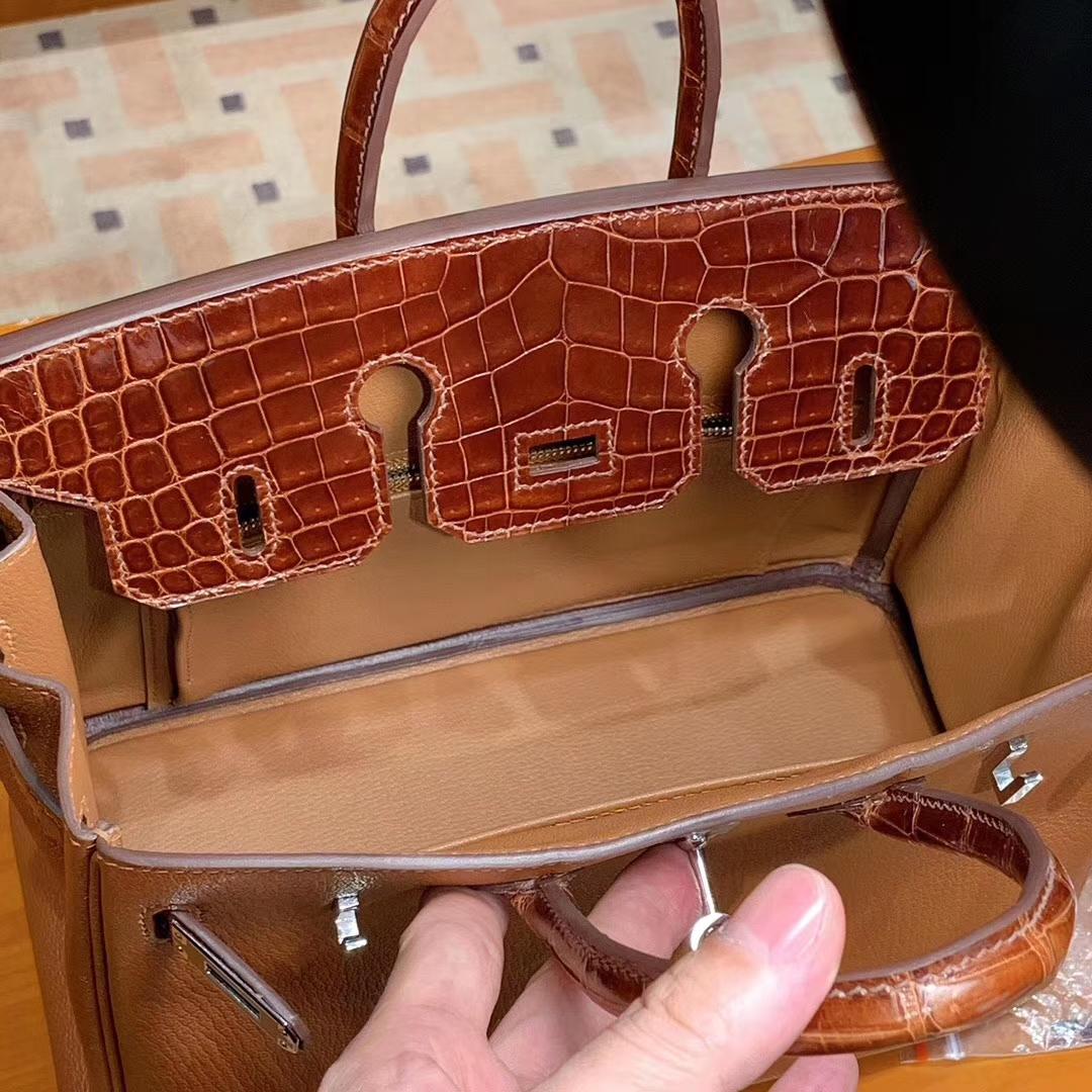 HERMES 爱马仕 Birkin 25/30 Togo 拼鳄鱼皮 金棕色 配专柜全套包装