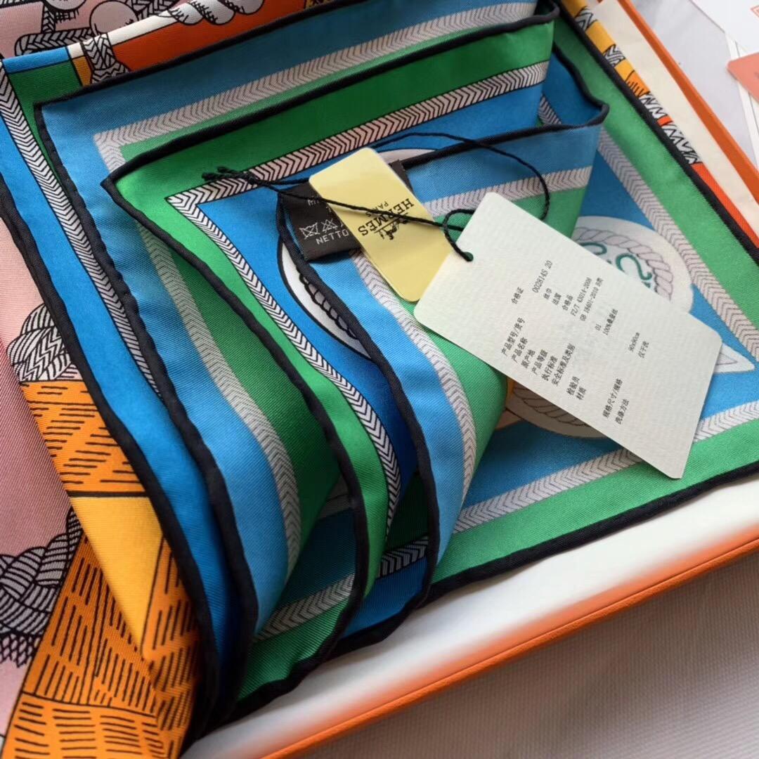 春季丝巾新品《佐阿夫团与龙》橙色 90x90cm 100% 蚕丝面料 高精度纺织