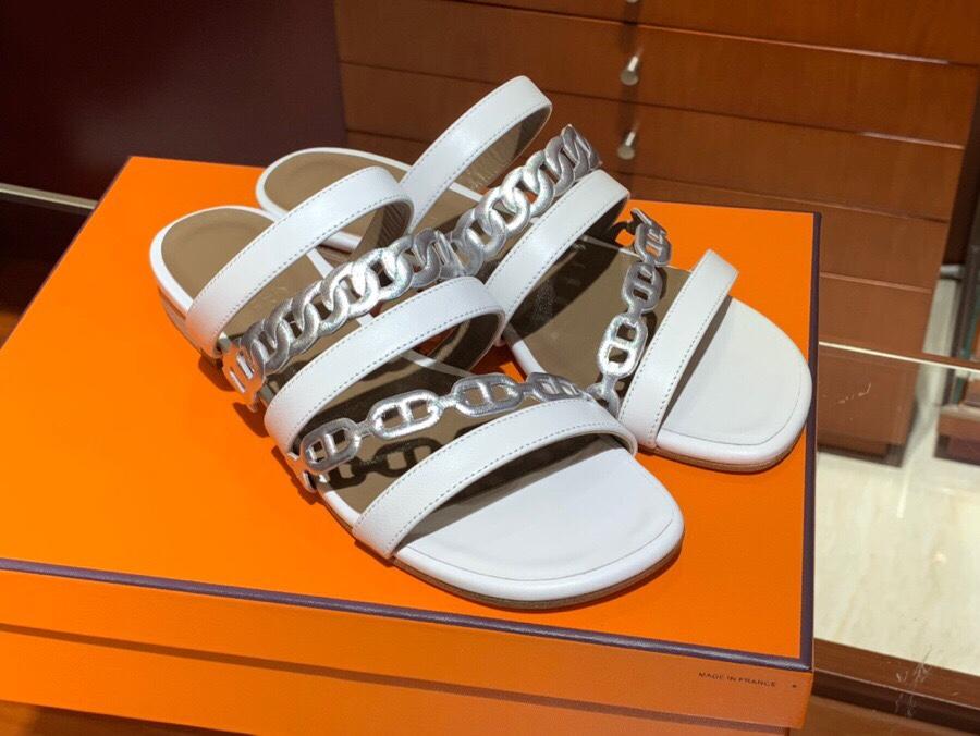 HERMES Amalfi拖鞋 白色