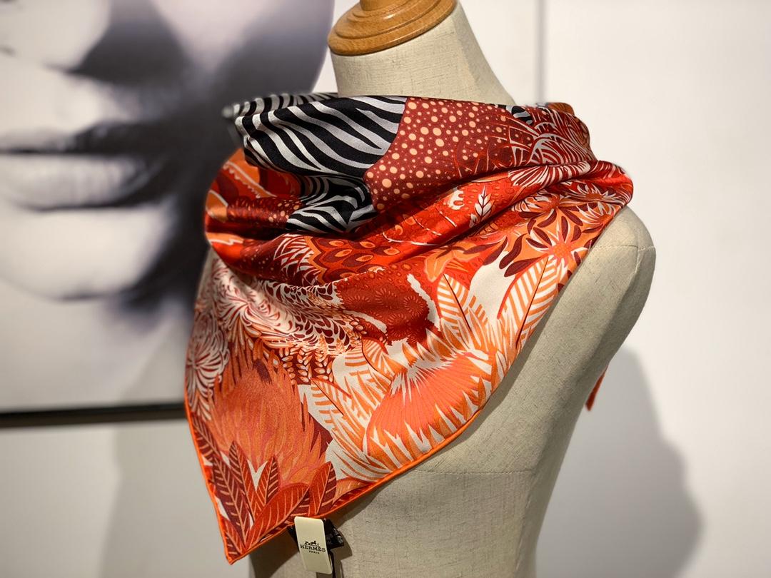 2020年春季新款斜纹真丝方巾 《林中斑马》 90*90cm 红色 18姆米