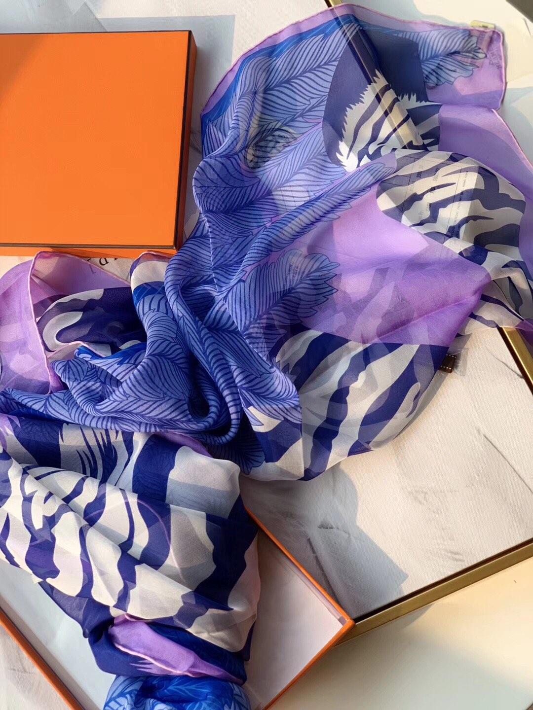 H《斑马飞马》 迷人的紫蓝色 140*140cm 100%雪纺真丝