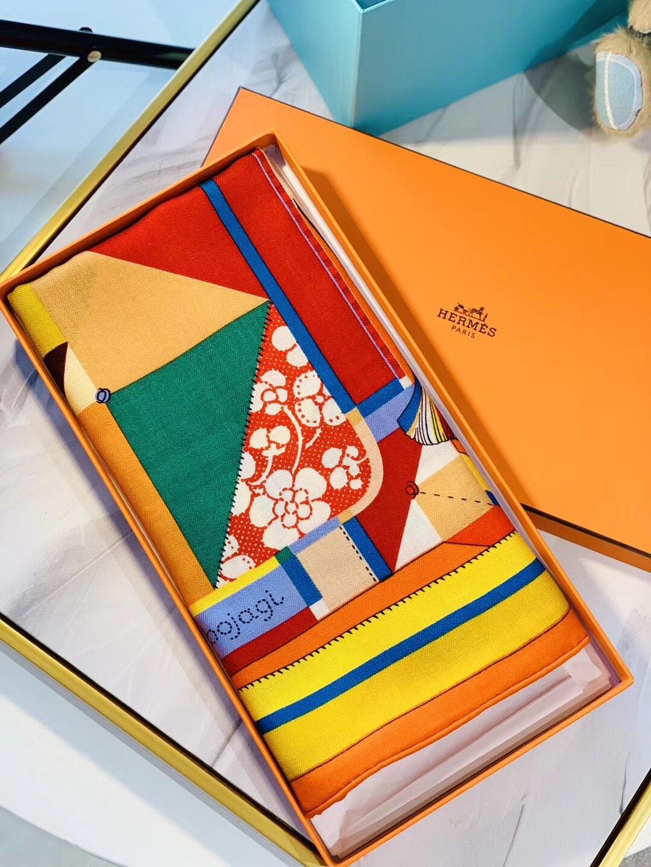 2020秋冬款 顶级版丝绒 Hermes《包布艺术》  35%蚕丝+65%羊绒 140x140cm 橙色  全套包装 专柜售价9100!
