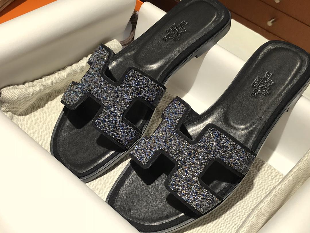 爱马仕价格 H新款水钻款拖鞋 高端订制独家品质 平跟35~41 中跟35~41(跟高5CM)