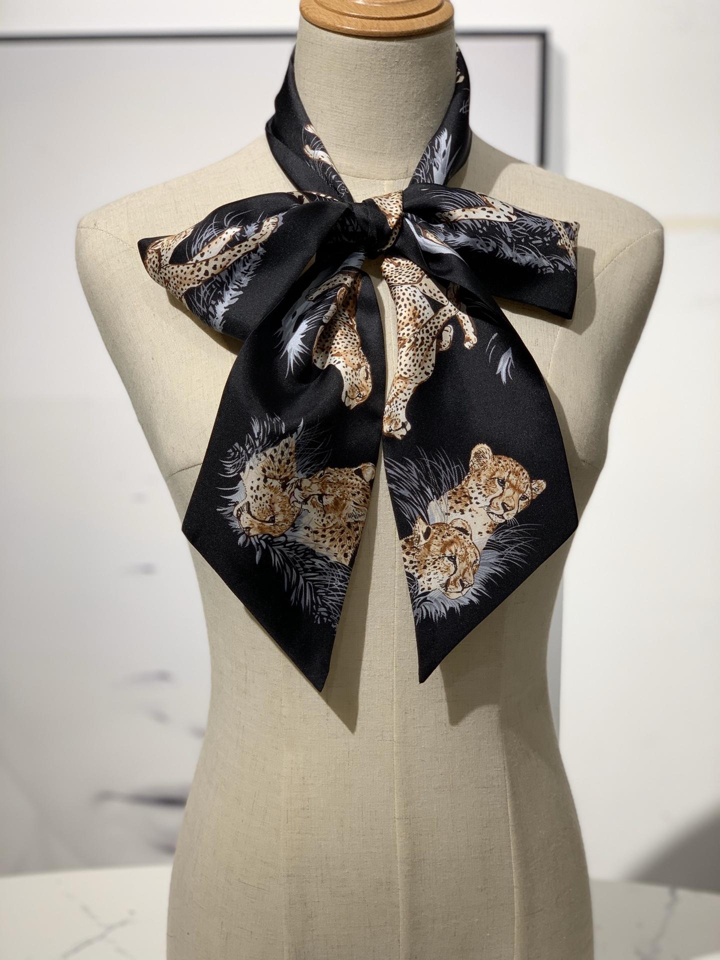 新款 《猎豹》Maxi twitty 黑色 专柜新尺寸 超级百搭实用 10*180cm 100%斜纹真丝