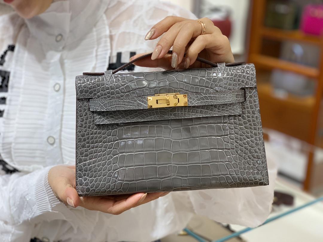 HERMES 爱马仕女包批发 Mini Kelly 22cm 沥青灰 现货 原厂鳄鱼皮